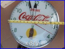 15 DIAMETER COCA-COLA LIGHTED ELECTRIC ADVERTISING CLOCK by PAM Brooklyn NY