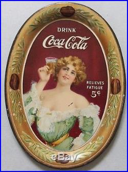 1907 Coca Cola Advertising Tip Tray'relieves Fatigue Pretty Girl Beautiful