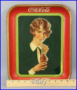 1927 Antique Authentic COCA-COLA Woman American Art Works Advertising Tray Sign