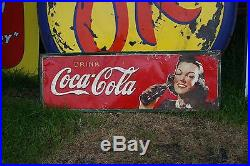 1930'S DRINK COCA COLA With BOTTLE & GIRL TIN TACKER METAL SIGN SODA POP