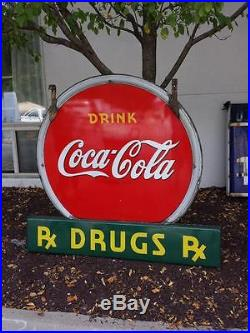1930's RARE Coca Cola porcelain 2 sided sign, its non-neon, excellent condition