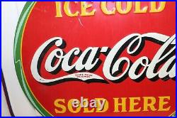 1932 Coca-Cola Soda Ad Sold Here Round Tin Target Sign 19 by American Art Works