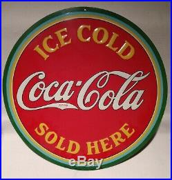 1933 Coca-Cola Ice Cold Sold Here round, embossed, painted metal sign