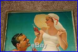 1934 COCA COLA Cardboard Sign Vintage Advertising Sign BATHING SUIT RARE