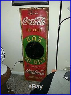 1936 Coca Cola Gas To day Sign Tin Embossed Blackboard In Center 18x54 Rare