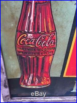 1936 Rare Vintage Coca Cola Metal Sign (72 x 30) 83 Years Old! Coke