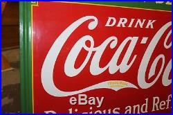 1936 Vintage Coca Cola Fountain Service Coke Soda Porcelain Advertising Sign