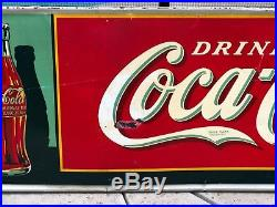 1938 Large Coca Cola Embossed Tin Sign American Art Works 54 X 18