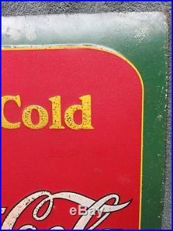 1938's Early Vintage Coca Cola Tin Metal Store Sidewalk Soda Fountain Sign