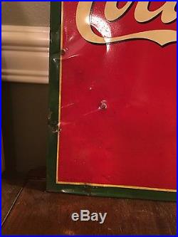 1940's Coca Cola Tin Sign with Girl Holding Coke Bottle / NO RESERVE