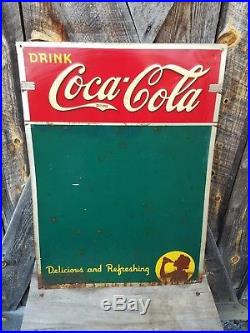1941 Coca Cola Menu Board Sign with girl. 28inx19.5in. Painted metal
