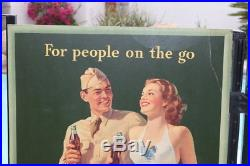 1944 Large Coca Cola Cardboard Sign Ww2 Excellent Condition Rare