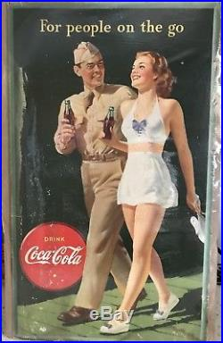 1944 World War II Coca Cola Cardboard Advertising Store Display Sign with Soldier