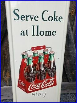 1947 Coca Cola Pilaster Sign With Button. Clean! 54inx16in