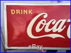 1947 Coca Cola Sign Original Coke Soda Vintage Bottle Metal Service Station Gas