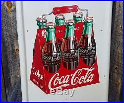 1948 Coca Cola 6 pack pillister Sign. 40inx18in. Painted metal