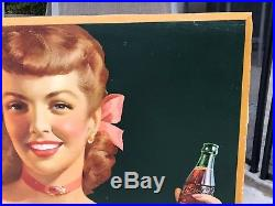 1948 Large Coca Cola Cardboard Sign To Be Refreshed. 27 X 56
