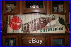 1950 LARGE THICK PAPER COCA COLA SIGN BOTTLE With ICYCLES EXCELLENT SHAPE