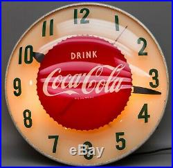 1950's Coca-Cola Bubble Glass Front Lighted Clock 15 Rebuilt Ingraham Motor