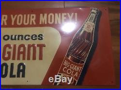 1950s BIg Giant Cola Embossed Tin Soda Advertising Sign Not Coke Pepsi