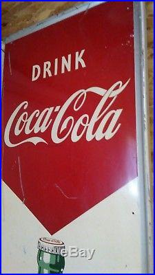 1950s COCA COLA COKE SODA POP TIN ADVERTISING SIGN OLD VINTAGE