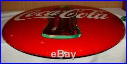 1950s COCA COLA HUGE 36 INCH ROUND BUTTON SIGN BEAUTIFUL CONDITION