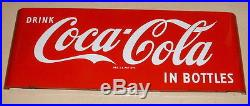 1950s COCA COLA LARGE 44 INCH BY 16 INCH PORCELAIN SIGN FANTASTIC CONDITION