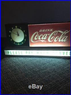 1950s Coca Cola Light Up Sign With Clock Please Pay When Served WORKS