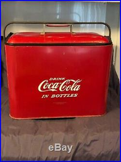 1950s Drink Coca Cola Progress Refrigerator Louisville KY Picnic Cooler WithTray