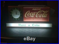 1950s RARE Vintage Coca Cola Light up lunch counter Clock