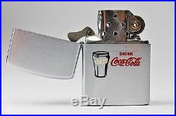 1953 Drink Coca Cola Zippo Lighter With Candy Stripe Box Pamphlet