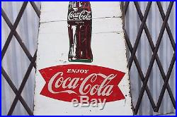 1954 COCA COLA Coke FISHTAIL SCHOOL CROSSING Wood Advertising Curb SIGN