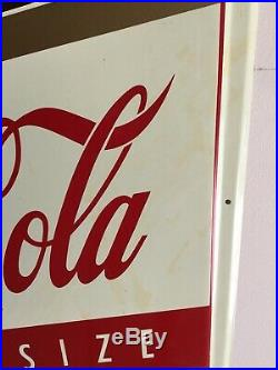 1960s Coca Cola King Size Die-Cut Embossed 6-Pack Tin Sign Coke Six Pack NM