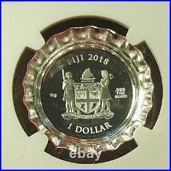 2018 Fiji $1 COCA-COLA Bottle Cap Silver Coin NGC PF70 UC with Mint Box
