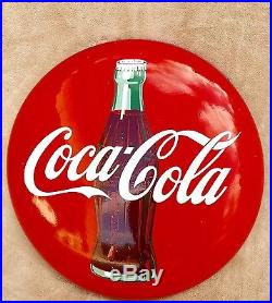24 inch Coca Cola Porcelain Button Sign with Bottle. 1950's Coke Button Sign
