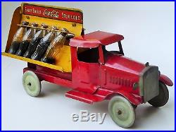 30's METALCRAFT WHITE TRUCK COCA COLA DELIVERY TRUCK TOY ALL ORIGINAL 11 n/r
