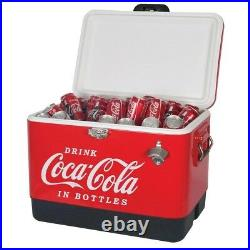 54 Quart Coca Cola Metal Ice Chest Red Stainless Steel Cooler