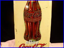 Antique 1920's Coca Cola Tin Over Cardboard Advertising Sign Must See! #00