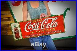 Antique 1930's Coca-Cola tin advertising sign General Store Deli Gas Station Adv
