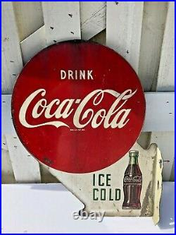 Antique 1951 Coca Cola Double Sided Metal Flange Sign Dated