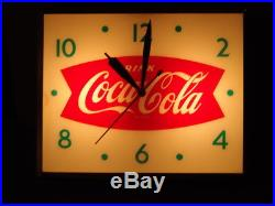 Antique Coca Cola Lighted Clock With Curved Glass Works