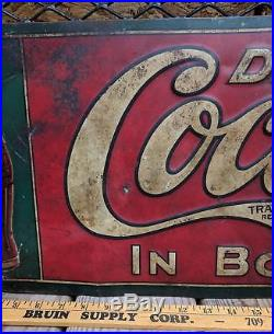 Antique Drink COCA COLA Sign In Bottles 5¢ Metal Tin Elwood Myers Co Ca 1915