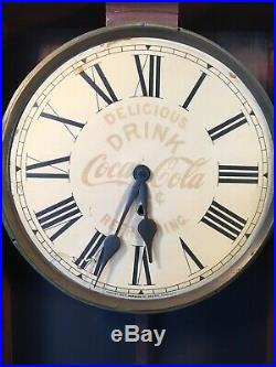 Antique Drink Coca Cola Key Wind Clock 34x 141/4 X 41/4 By E Ingraham Co. Conn