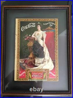 Antique Framed 1905 Genuine Coca Cola Magazine Ad with Coupon Lillian Nordica