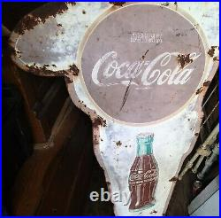 Antique Us Coca Cola Soda Dbl Sided School Police Man Porcelain Advertising Sign