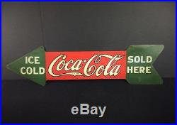 Antique Vintage COCA COLA METAL SIGN Original 1927-1929 Two Sided Arrow Scarce