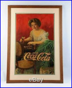 C1909 Coca Cola HOLY GRAIL EXTREMELY RARE Early Large Original Cardboard Sign