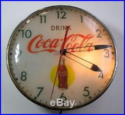 C1950s PAM Coca Cola Coke Lighted Round Bottle Clock oo85