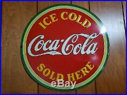 COCA COLA 1933 round sign very nice original early vintage Coke advertising