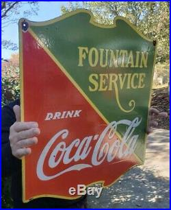 COCA COLA FOUNTAIN SERVICE PORCELAIN SIGN (DATED 1933) Double Sided 22 1/2x25